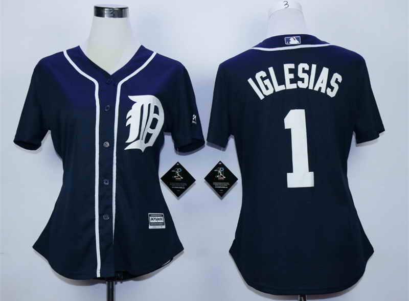 Tigers 1 Jose Iglesias Blue Women New Cool Base Jersey