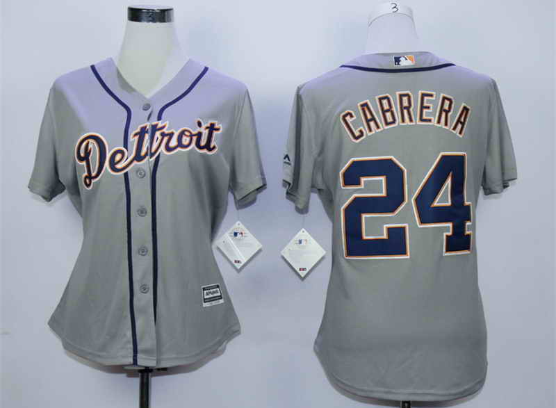 Tigers 24 Miguel Cabrera Grey Women New Cool Base Jersey