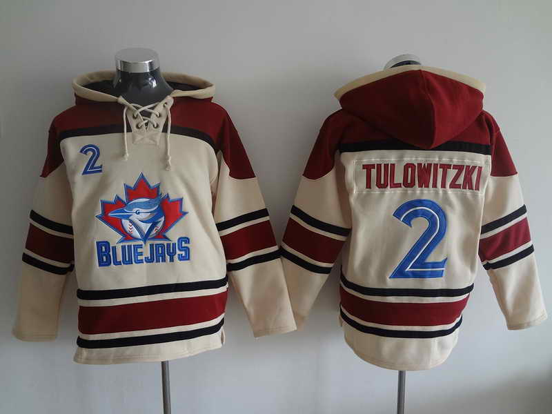 Blue Jays #2 Tulowitzki Cream and Red Hooded Jersey