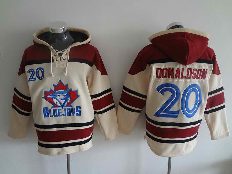 Blue Jays #20 Donaldson Cream and Red Hooded Jersey