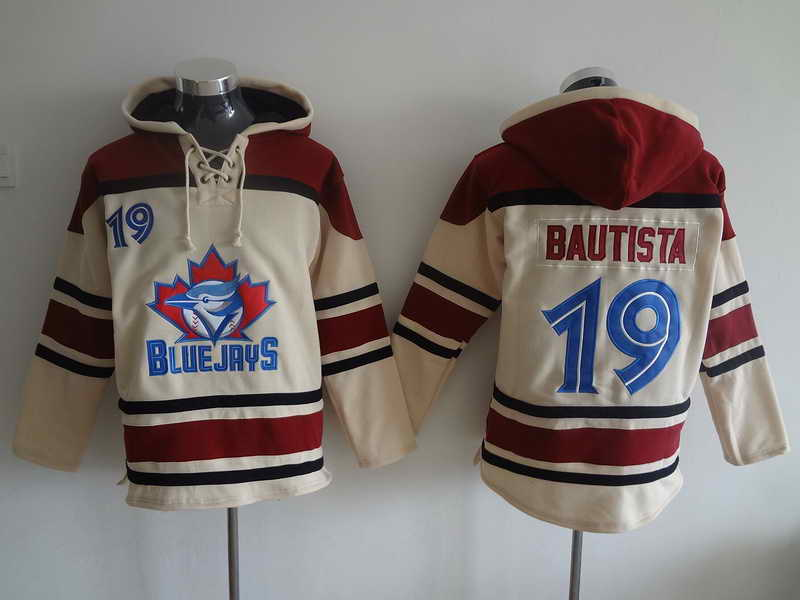 Blue Jays #19 Bautista Cream and Red Hooded Jersey