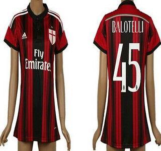 2014-15 AC Milan #45 Balotelli Home Soccer AAA+ T-Shirt_Womens