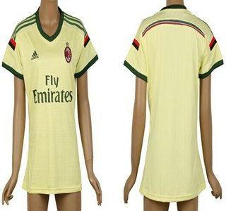 2014-15 AC Milan Blank Away Gold Soccer AAA+ T-Shirt_Womens