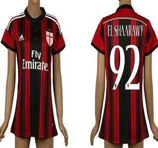 2014-15 AC Milan #92 El Shaarawy Home Soccer AAA+ T-Shirt_Womens