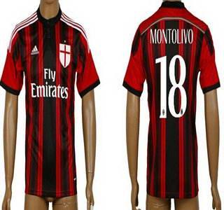 2014-15 AC Milan #18 Montolivo Home Soccer AAA+ T-Shirt