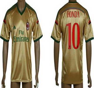 2014-15 AC Milan #10 Honda Away Gold Soccer AAA+ T-Shirt