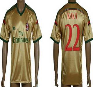 2014-15 AC Milan #22 Kaka Away Gold Soccer AAA+ T-Shirt