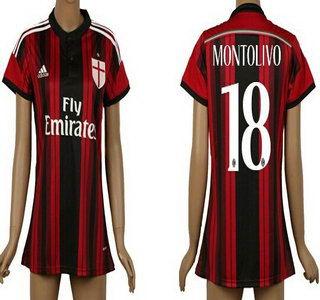 2014-15 AC Milan #18 Montolivo Home Soccer AAA+ T-Shirt_Womens