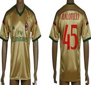 2014-15 AC Milan #45 Balotelli Away Gold Soccer AAA+ T-Shirt