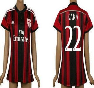 2014-15 AC Milan #22 Kaka Home Soccer AAA+ T-Shirt_Womens