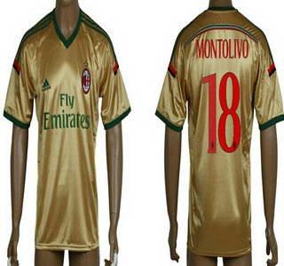 2014-15 AC Milan #18 Montolivo Away Gold Soccer AAA+ T-Shirt