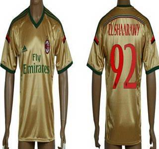 2014-15 AC Milan #92 El Shaarawy Away Gold Soccer AAA+ T-Shirt