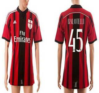 2014-15 AC Milan #45 Balotelli Home Soccer AAA+ T-Shirt