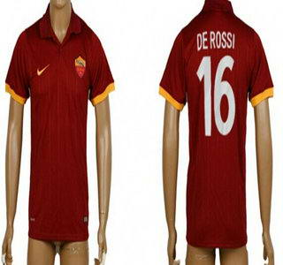 2014-15 AS Roma #16 De Rossi Home Soccer AAA+ T-Shirt