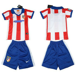 2014-15 Atletico Madrid Blank Home Soccer Shirt Kit_Kids
