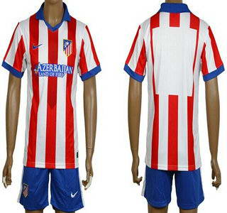 2014-15 Atletico Madrid Blank Home Soccer Shirt Kit