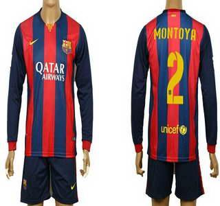 2014-15 FC Bacelona #2 Montoya Home Soccer Long Sleeve Shirt Kit