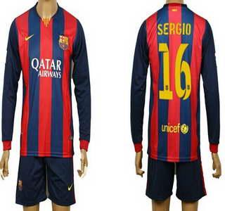 2014-15 FC Bacelona #16 Sergio Home Soccer Long Sleeve Shirt Kit