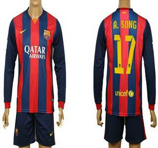 2014-15 FC Bacelona #17 A.Song Home Soccer Long Sleeve Shirt Kit