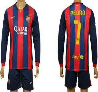 2014-15 FC Bacelona #7 Pedro Home Soccer Long Sleeve Shirt Kit