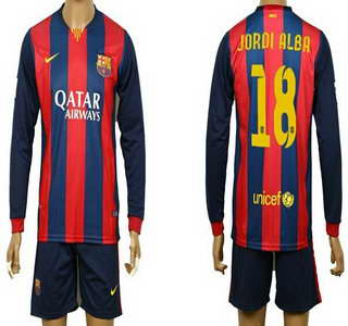 2014-15 FC Bacelona #18 Jordi Alba Home Soccer Long Sleeve Shirt Kit
