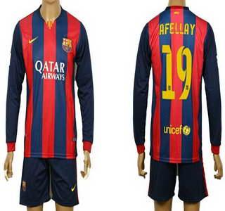 2014-15 FC Bacelona #19 Afellay Home Soccer Long Sleeve Shirt Kit