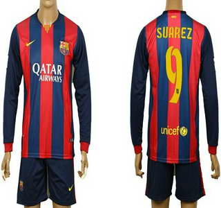 2014-15 FC Bacelona #9 Suarez Home Soccer Long Sleeve Shirt Kit