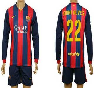 2014-15 FC Bacelona #22 Dani Alves Home Soccer Long Sleeve Shirt Kit