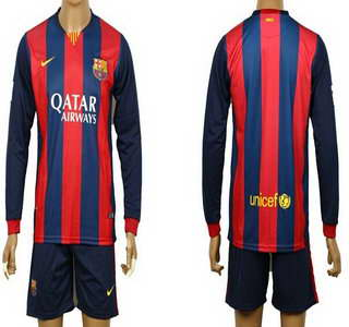 2014-15 FC Bacelona Blank (or Custom) Home Soccer Long Sleeve Shirt Kit