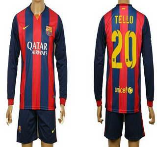 2014-15 FC Bacelona #20 Tello Home Soccer Long Sleeve Shirt Kit