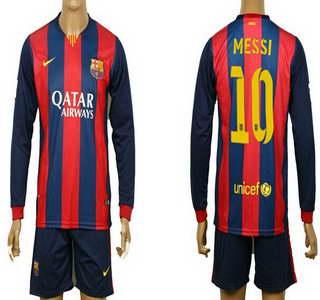2014-15 FC Bacelona #10 Messi Home Soccer Long Sleeve Shirt Kit