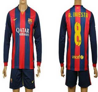 2014-15 FC Bacelona #8 A.Iniesta Home Soccer Long Sleeve Shirt Kit