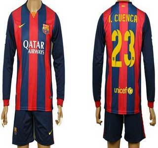 2014-15 FC Bacelona #23 I.Cuenca Home Soccer Long Sleeve Shirt Kit