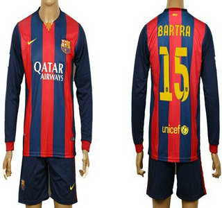 2014-15 FC Bacelona #15 Bartra Home Soccer Long Sleeve Shirt Kit
