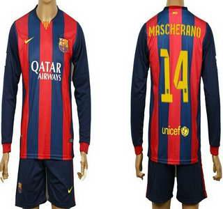 2014-15 FC Bacelona #14 Mascherano Home Soccer Long Sleeve Shirt Kit
