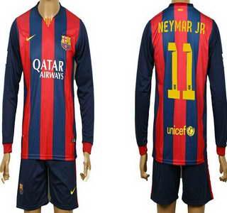 2014-15 FC Bacelona #11 Neymar Jr Home Soccer Long Sleeve Shirt Kit