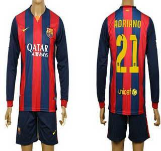 2014-15 FC Bacelona #21 Adriano Home Soccer Long Sleeve Shirt Kit