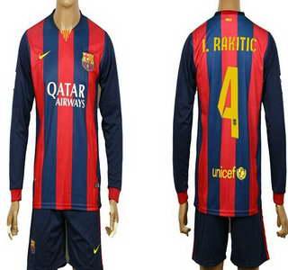 2014-15 FC Bacelona #4 I.Rakitic Home Soccer Long Sleeve Shirt Kit