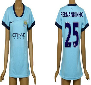 2014-15 Manchester City #25 Fernandinho Home Soccer AAA+ T-Shirt_Womens