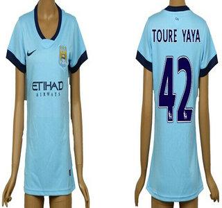 2014-15 Manchester City #42 Toure Yaya Home Soccer AAA+ T-Shirt_Womens