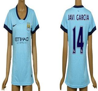 2014-15 Manchester City #14 Javi Garcia Home Soccer AAA+ T-Shirt_Womens