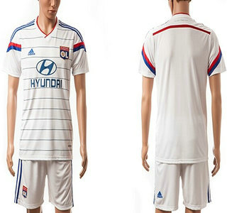 2014-15 Olympique Lyonnais Blank Home Soccer Shirt Kit
