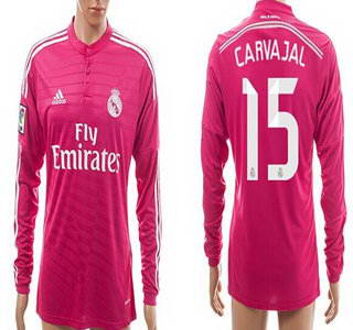 2014-15 Real Madrid #15 Carvajal Away Pink Soccer Long Sleeve AAA+ T-Shirt