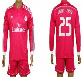 2014-15 Real Madrid #25 Diego Lopez Away Pink Soccer Long Sleeve Shirt Kit