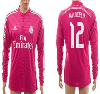 2014-15 Real Madrid #12 Marcelo Away Pink Soccer Long Sleeve AAA+ T-Shirt