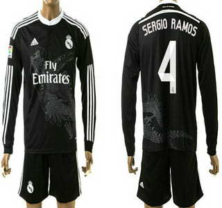 2014-15 Real Madrid #4 Sergio Ramos Away Black Soccer Long Sleeve Shirt Kit