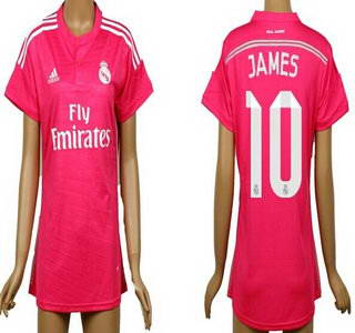 2014-15 Real Madrid #10 James Rodriguez Away Pink Soccer AAA+ T-Shirt_Womens