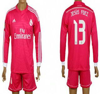 2014-15 Real Madrid #13 Jesus Fdez Away Pink Soccer Long Sleeve Shirt Kit