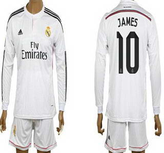 2014-15 Real Madrid #10 James Rodriguez Home Soccer Long Sleeve Shirt Kit
