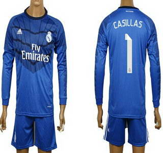 2014-15 Real Madrid #1 Casillas Goalkeeper Blue Soccer Long Sleeve Shirt Kit